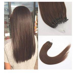 """22"""" micro loop HUMAN hair extensions (dark brown)"""